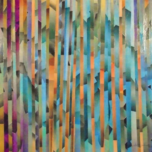 Rose Givrée, art stratifié, pastel 24po x 24po, 2013