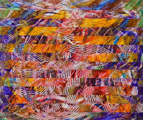 Interlignes I, art stratifié, acrylique/pastel, 28,75po x 34po, 2014