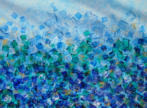 Ère de glace, 28po x 38po , Acrylique/pastel, 2015