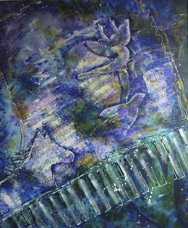 Danube bleu de Straus, 24po x 20 po, Médium mixte