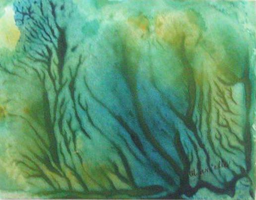 Algues, acrylique, 5po x 7 po
