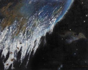 Déversement, Gaëtan Lavoie 2017, technique mixte et huile, 20 po x 16 po