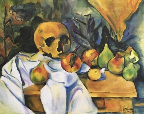 Nature morte au crâne - Reproduction d'une toile de Cézanne. - Huile sur toile. - 20po x 24po. - 2018