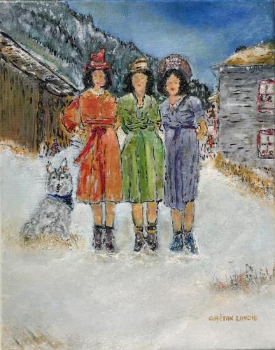 Les trois soeurs, Gaëtan Lavoie, 2018, huile, 14 po x 10 po